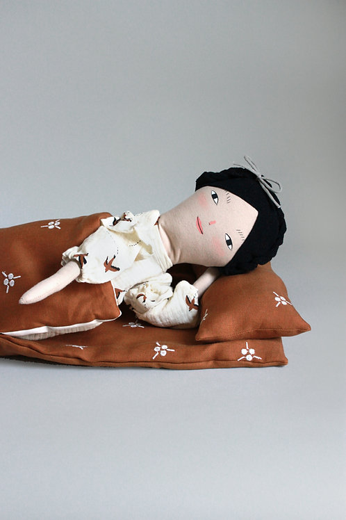 Embroidered Berry Sleeping Bag - Midi doll size