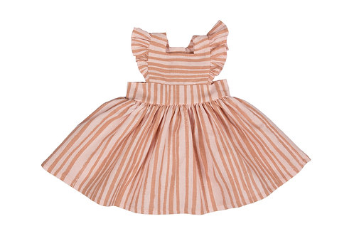 Maxi Doll Pinafore in 'Clay Stripe'