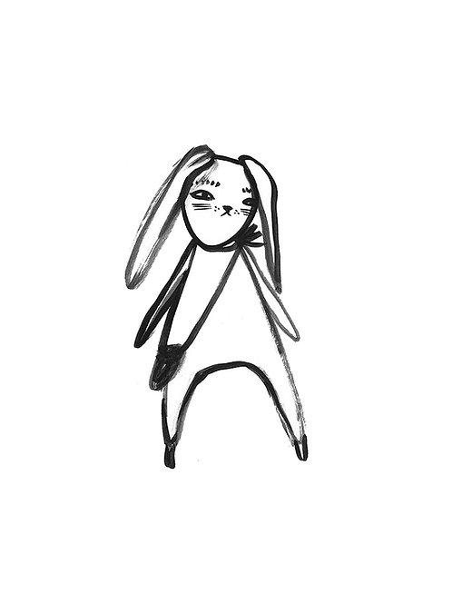 Bunny with Satchel art print