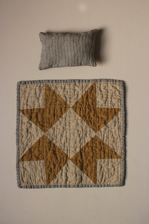 Heirloom Doll Quilt and Pillow set - Dijon