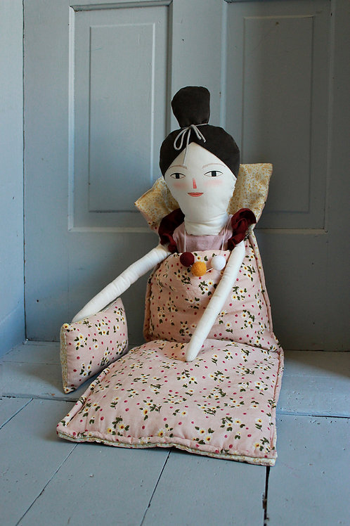 Doll Sleeping bag in Dusty Pink Floral Corduroy
