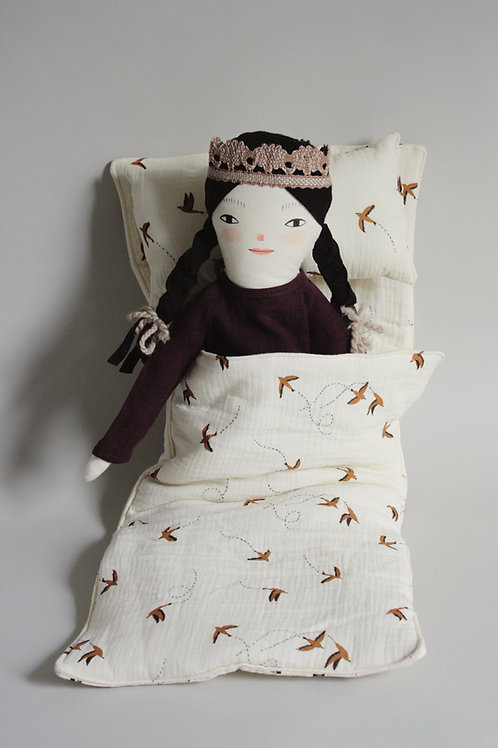 Doll Sleeping Bag - Midi size in R+C swallow crepe