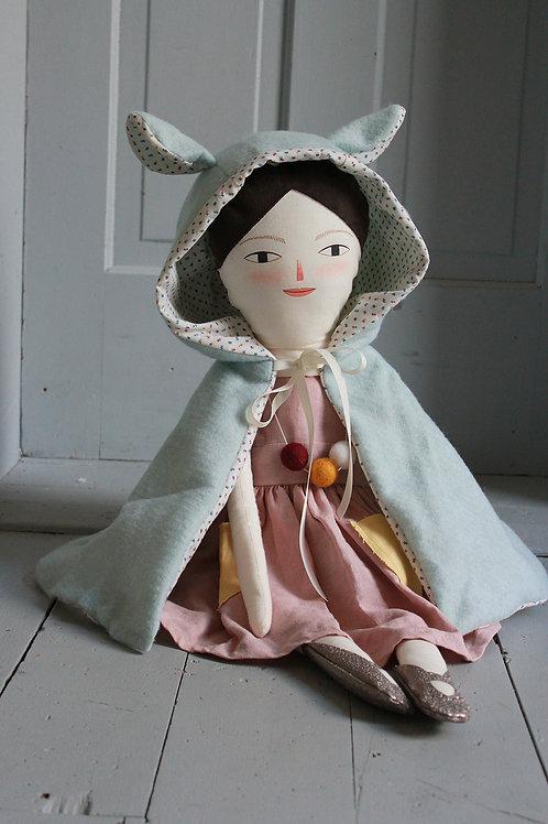 Doll's Hooded Bear Cape in mint wool