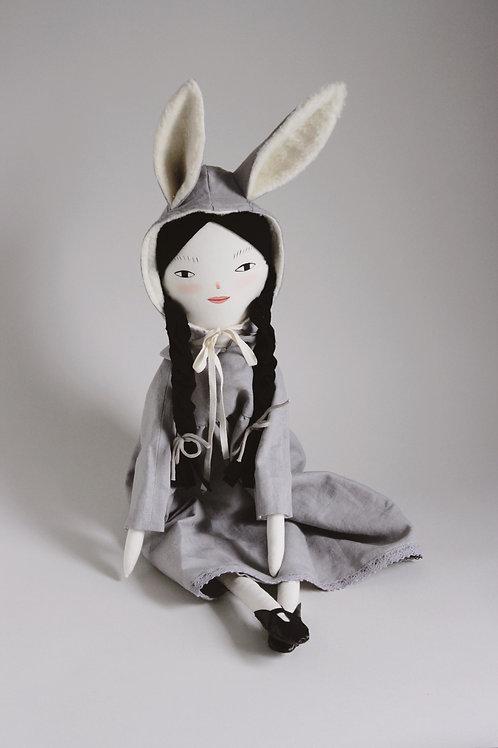 Lila - midi size doll with bunny hood
