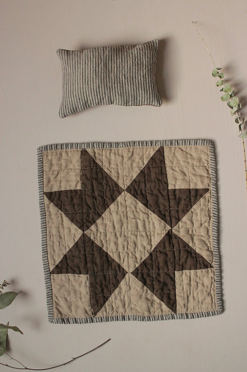 Heirloom Doll Quilt and Pillow set - Coffee