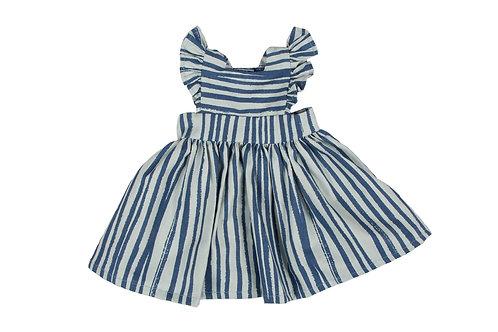 Maxi Doll Pinafore in'Blue Stripe'