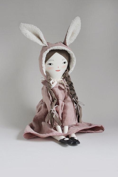 Lotti - midi size doll with fluffy bunny hood