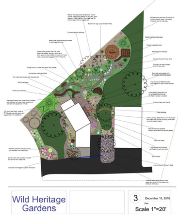 WHG: 2D Design, Edible forest garden, natural interactive kids play areas, mushroom logs, raised vegetable beds, multiple fire pits and patio spaces and gazebo