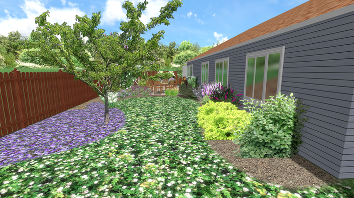 WHG: 3D Design, Patio hardscaping with clover ground cover and perennial plants