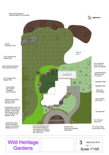 WHG: 2D Design, Perennial gardens, dry creek drainage area, clover and raspberry patches, orchard, patio with pergola, and naturalized areas