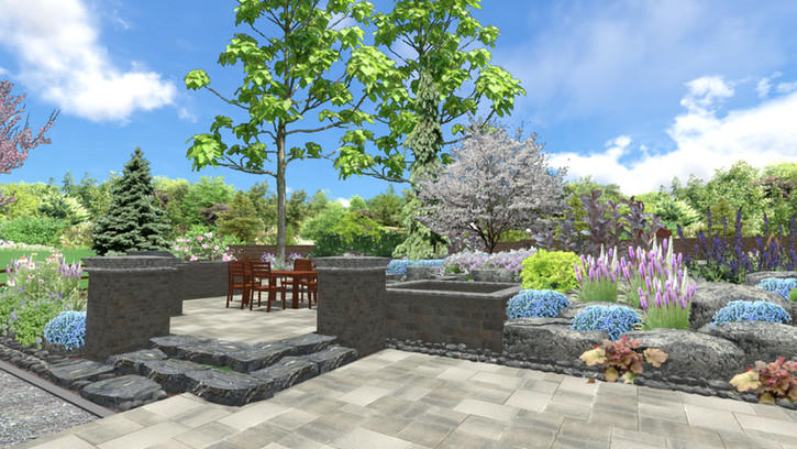 WHG: 3D Design of a Hardscape Lounge, Hot Tub, Patio & Kitchen with Perennial plantings