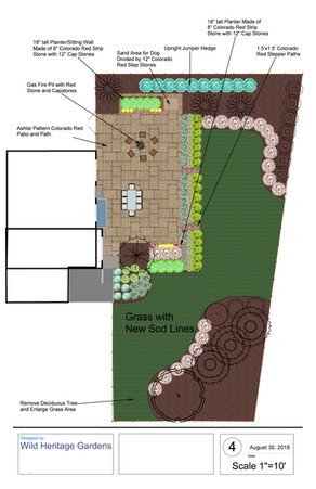 WHG: 2D Design, Large colorado red patio space with pathways, dog sand pit area, gas fire pit, perennial plantings and privacy hedge