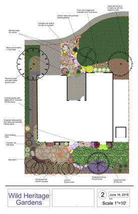 WHG: 2D Design, Colorado random red flagstone patio and pathway, turf removal, new perennial plantings and crushed granite pathway