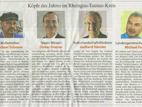 """FAZ: Kopfe des Jahres im Rheingau 2018 - GERHARD GÄNSLER IN """"KÖPFE  DES JAHRES GEWÄHLT"""""""