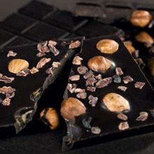 Cocoa Nibs and Hazelnut Dark choc bar (100g)