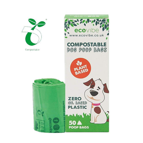 Ecovibe Compostable Dog Poo Bags made from wind farm electricity: 50 bags