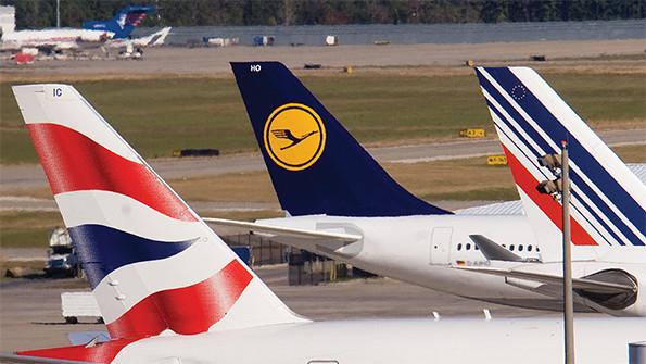Lufthansa, Air France, and British Airways at Airport