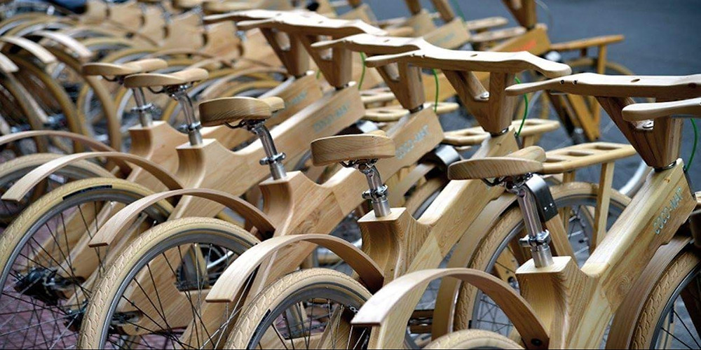 wooden bicycles in stockholm