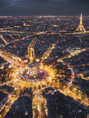 Champs-Elysees and Arch of Triumph at the Center of Paris dividing it in 12 pieces of direction