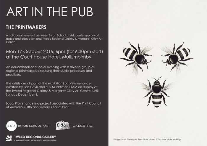 Art in the Pub - The Printmakers. Monday 17th October 2016. 6 pm for a 6.30 pm start.