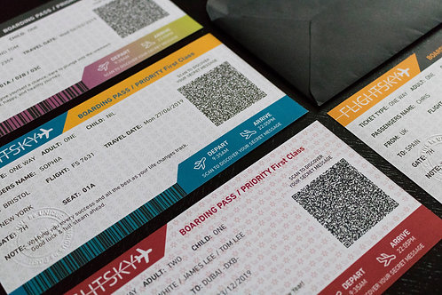 FLIGHTSKY - Personalised boarding pass/wish card