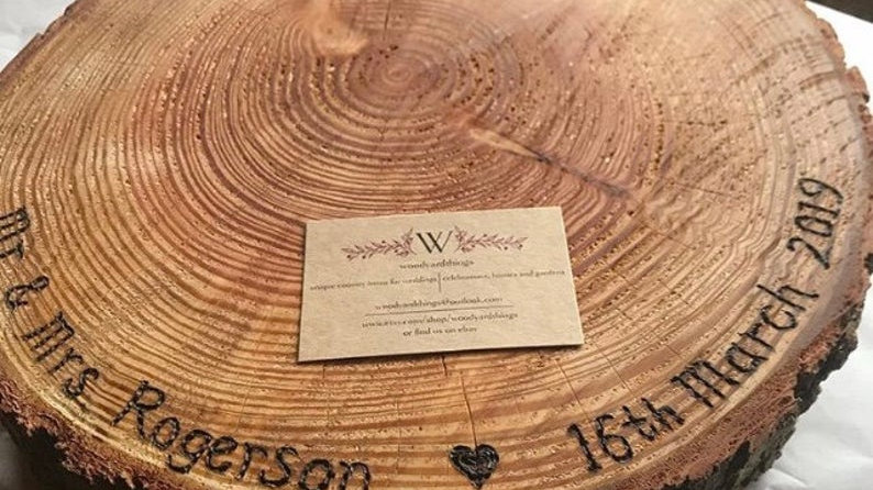 Bespoke oiled personalised rustic log wooden wedding cake stand