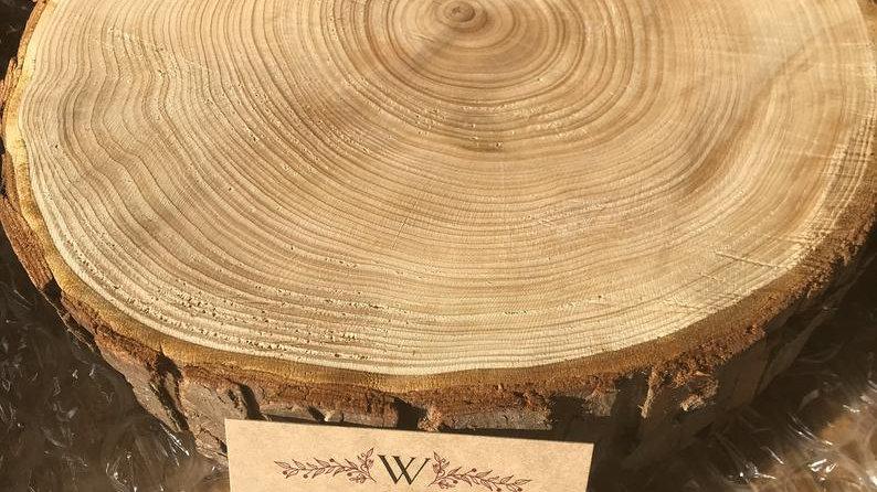 Sanded wooden log slice cake stand