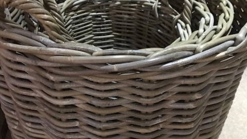 Set of four round ratten wicker baskets for Logs and storage