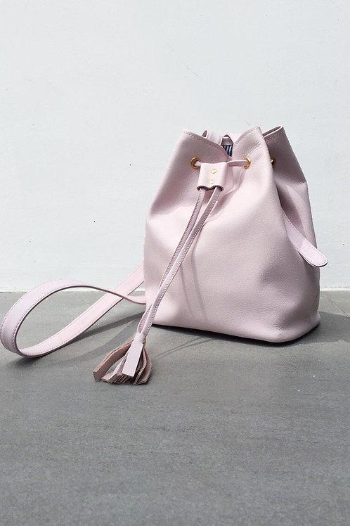 Mini Tassel Bucket Leather Pale Pink