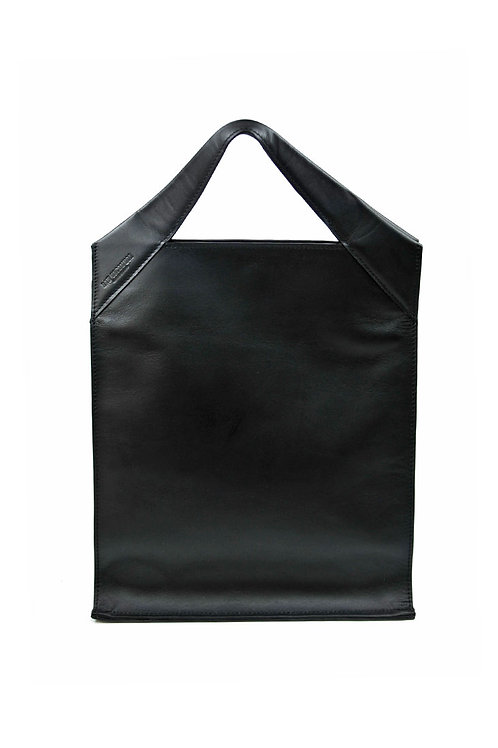Paper Bag Classic Leather Black Smooth
