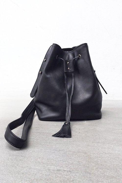 Mini Tassel Bucket Leather Black
