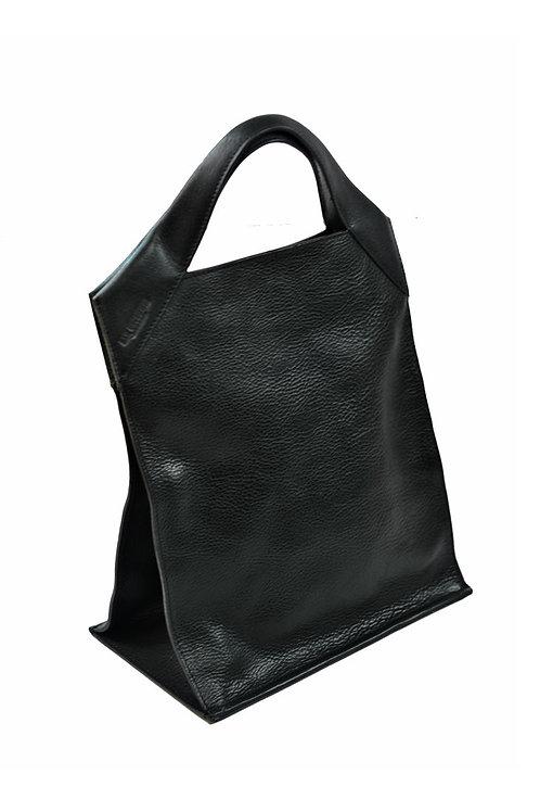 Paper Bag Classic Leather Black Pebble