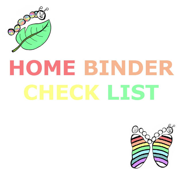 HOME BINDER CHECK LIST.