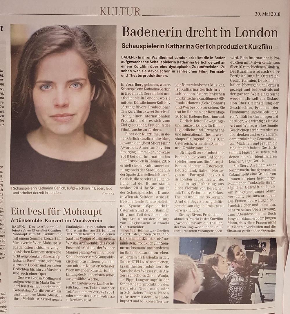 Artikel in der Badener Zeitung