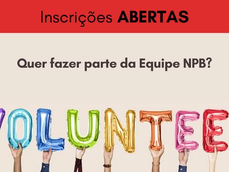 Voluntários NPB - Vagas abertas