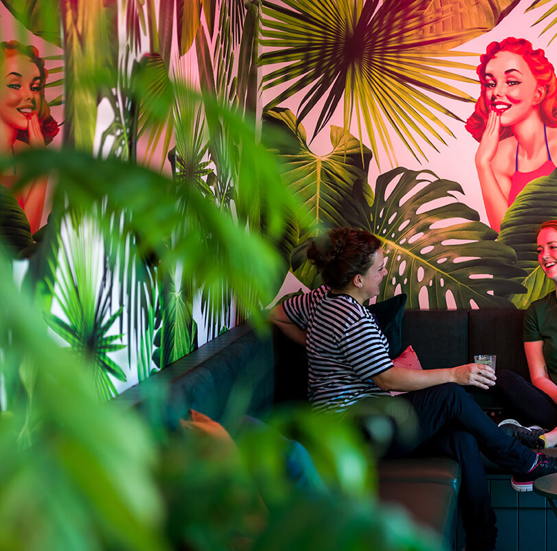 Girls chatting in lounge at Miss Lucy's