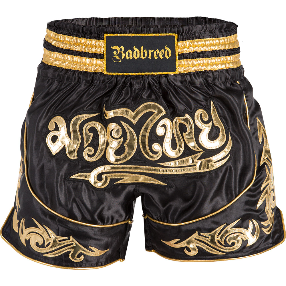 Badbreed-Predator-Thai-Shorts-Black-Gold-Front