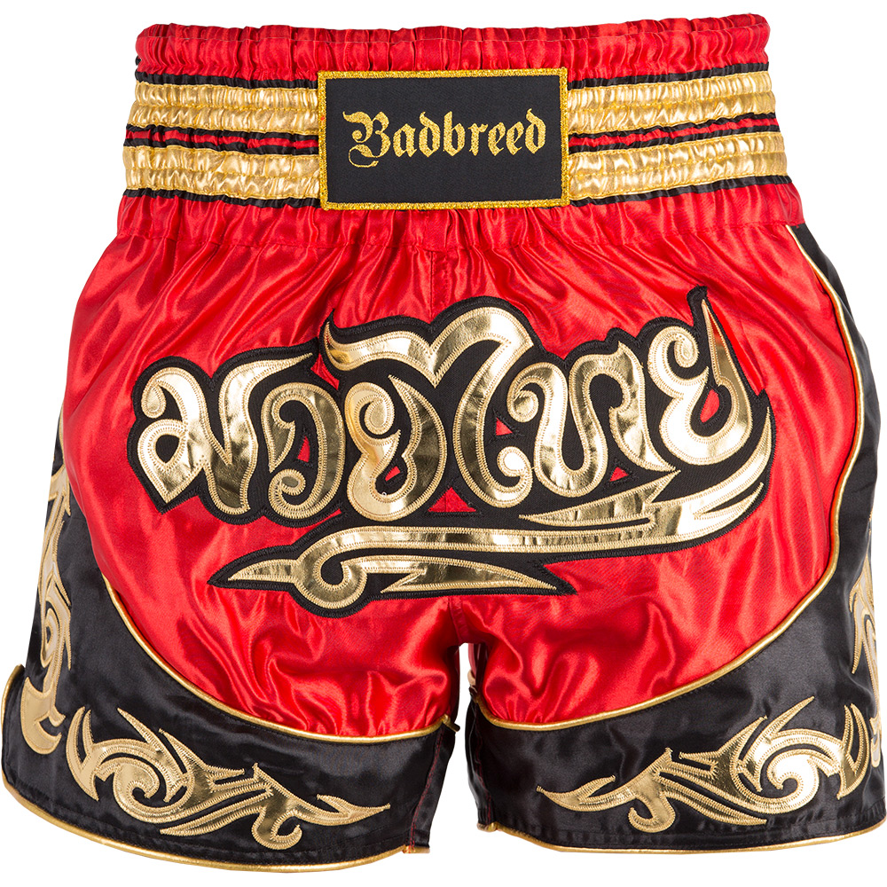 Badbreed-Predator-Thai-Shorts-Black-Red-Front
