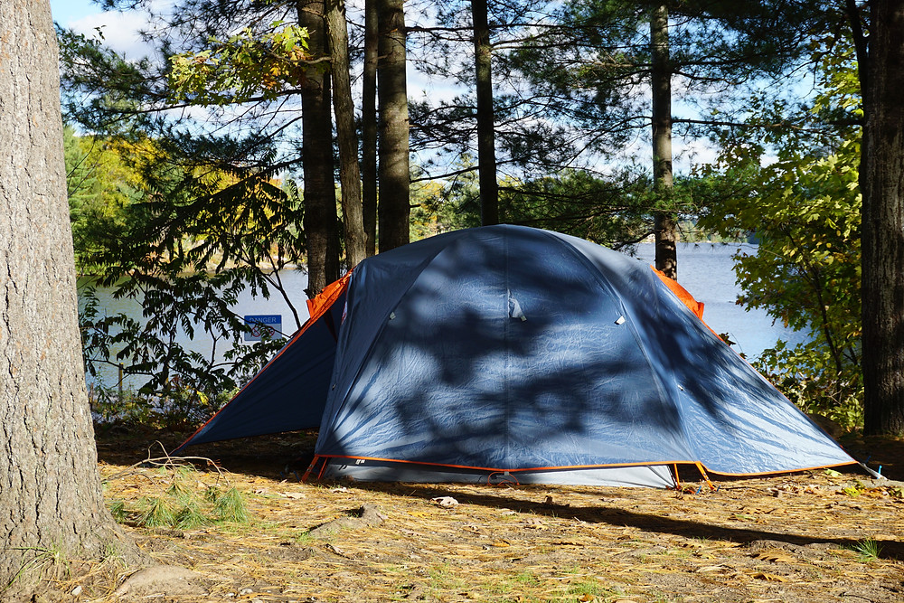 Picture of a tent in the forest close to the water