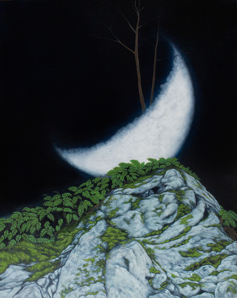 Moon quarter rising from the top of a greenish rocky hill on a pitch black night sky