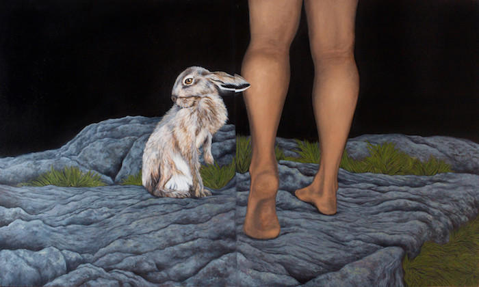 Painting representing a hare sitting on rocky ground next to a pair of human legs at night