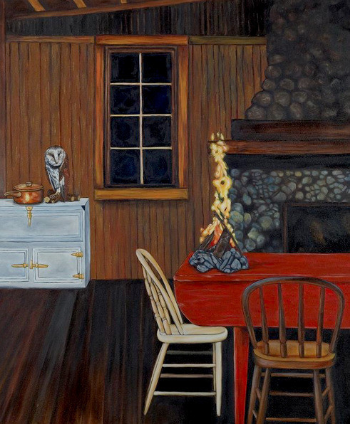 Surrealist painting representing the indoor of a wood cabin at night with a blazing campfire on the kitchen table