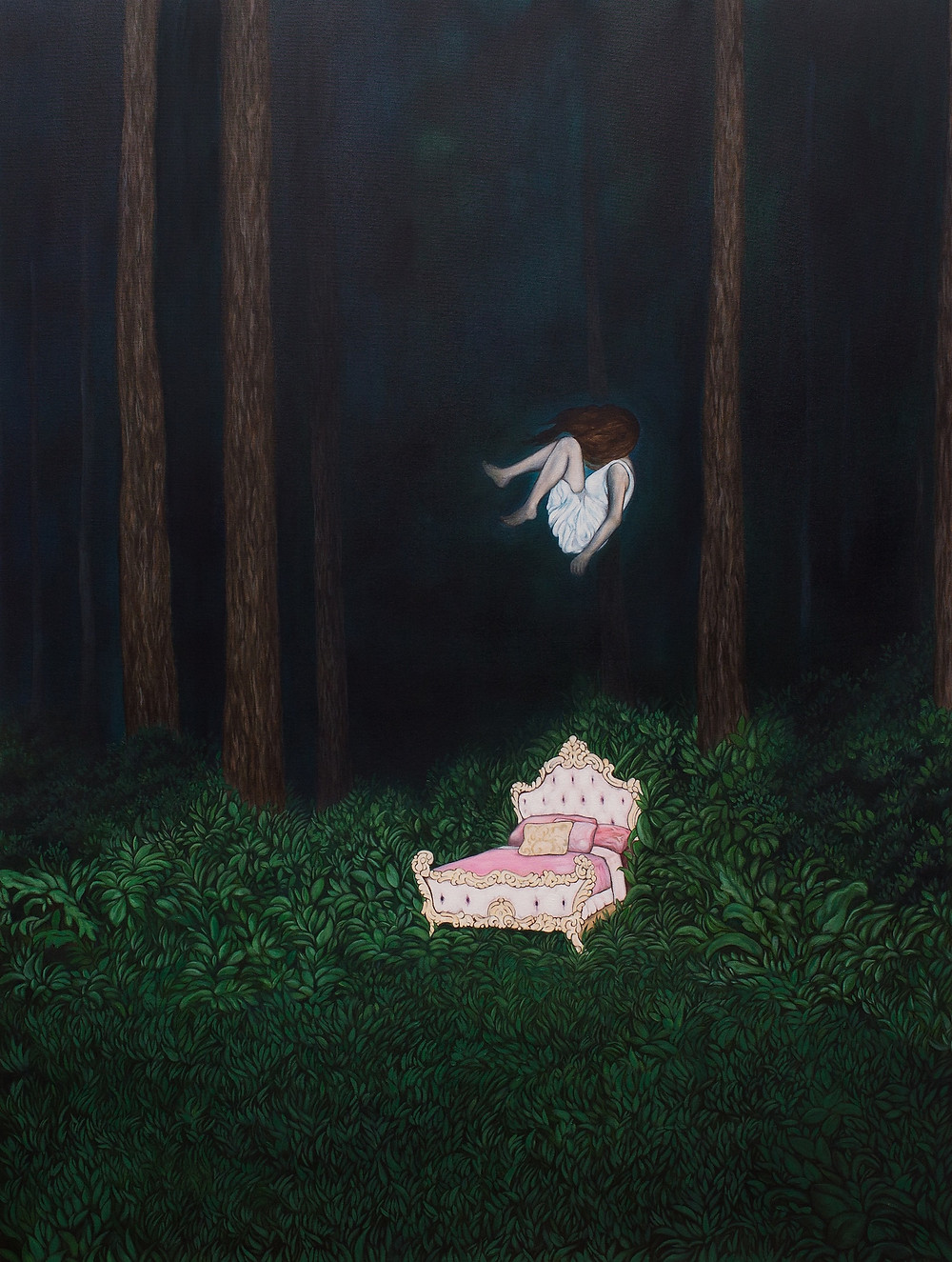 Surrealist painting representing a girl falling from above about to land on a pink bed in the middle of the forest