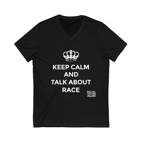Talk About Race Unisex Jersey Short Sleeve V-Neck Tee