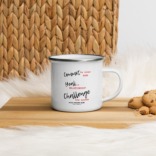 Commit, Heal, Challenge Enamel Mug