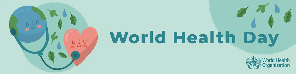 """World Health Day page banner. Lime green page width rectangle (short height, wide length) displaying the text """"World Health Day"""" to the centre right. On the left, there is an image of an anthropomorphized Earth listening to an anthropomorphized heart using a stethoscope. In the background of this image there are leaves and raindrops and a slightly darker green circle. A darker green circle with raindrops and leaves is also present in the top right of the image. The World Health Organisation Logo is on the bottom right of the image."""