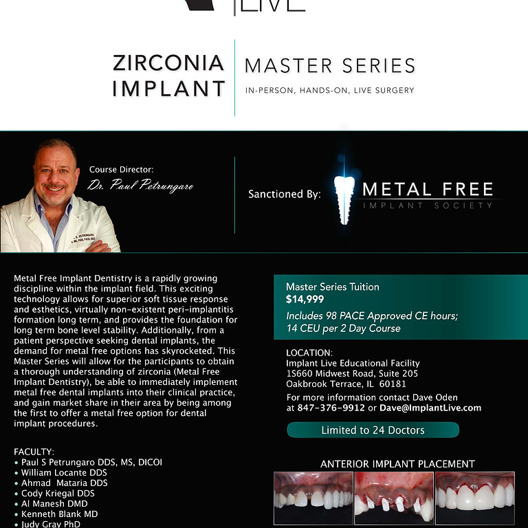 Metal Free Implants: Master Series Level 2 & 3