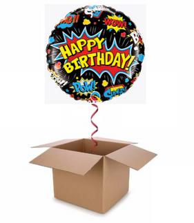 Super Hero cartoon Happy Birthday Balloo