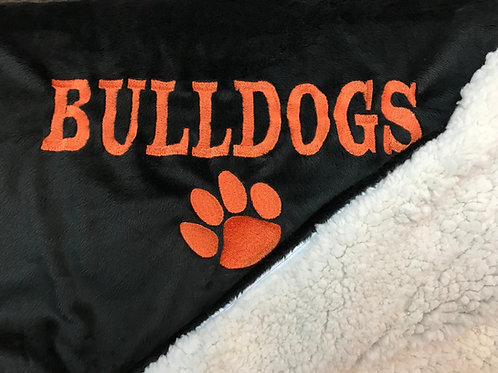 Bulldog Fleece & Sherpa Blanket