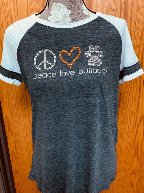 Peace, Love & Bulldogs Tee